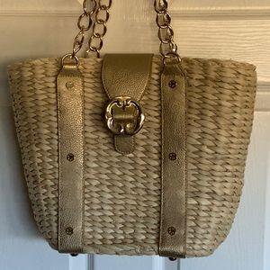 Looks new..EMMA FOX leather & straw bag